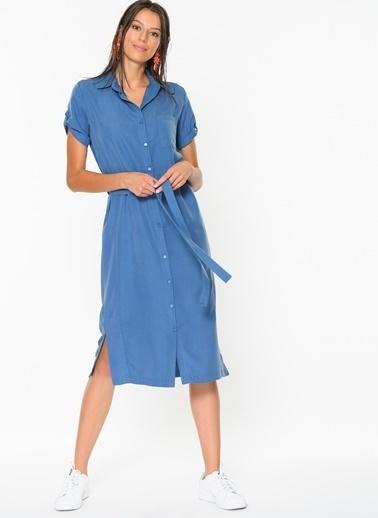 Loves You Kuşaklı Tensel Gömlek Elbise İndigo